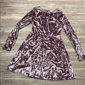 Mossimo Faux Velvet Long Sleeve Dress